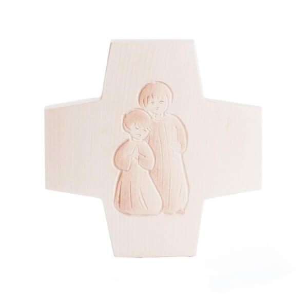Holzkreuz - Betende Kinder & Zweitönig