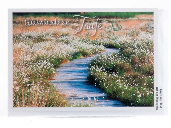Taufkarte - Blumenwiese und Weg