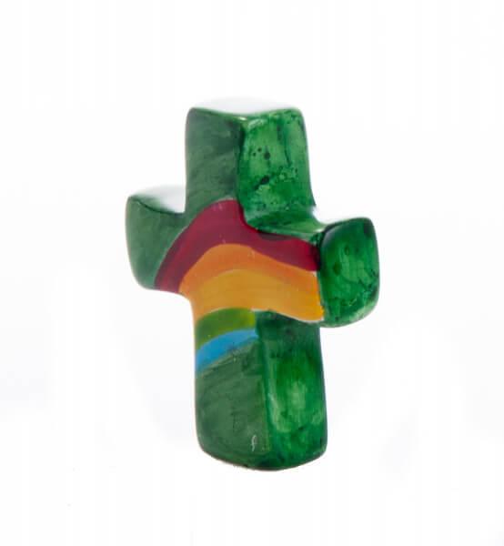 Handschmeichler - Grünes Kreuz mit Regenbogen