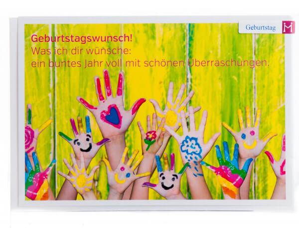 Geburtstagskarte - Bunte Hände