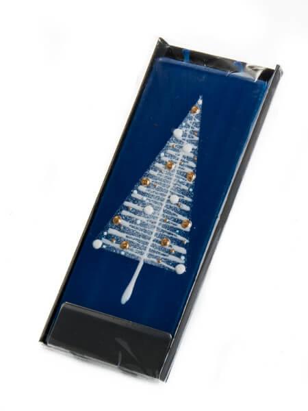 Flachkerze mit Ständer - Tannenbaum auf blauer Kerze