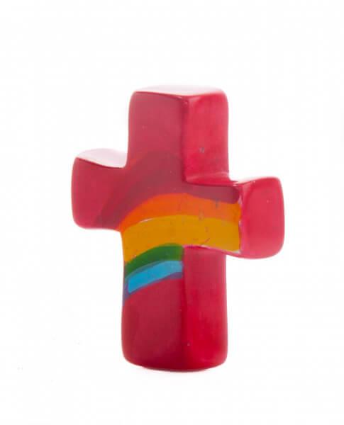 Handkreuz - Regenbogen & Rot
