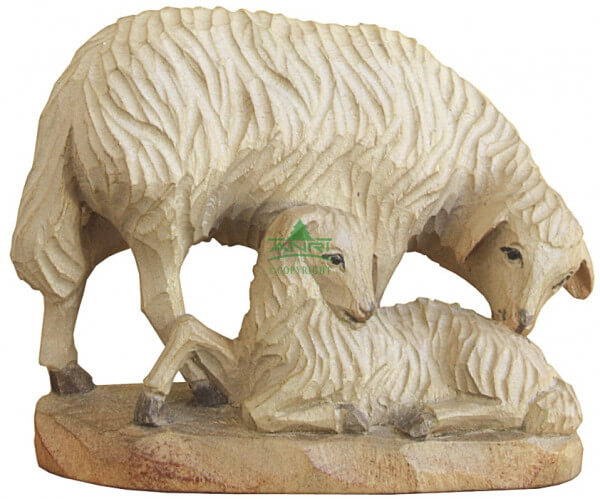 Karl-Kuolt-Krippe Lindenholz - Schaf mit Lamm