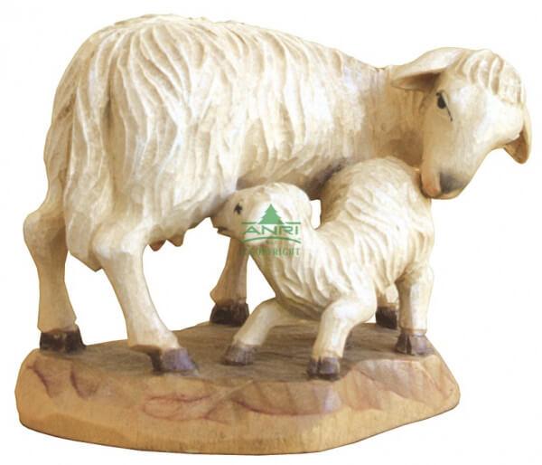 Karl-Kuolt-Krippe Lindenholz - Schaf stehend mit Lamm