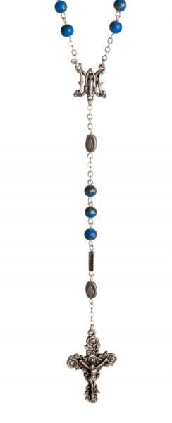 Rosenkranz - Blau marmorierte Perle