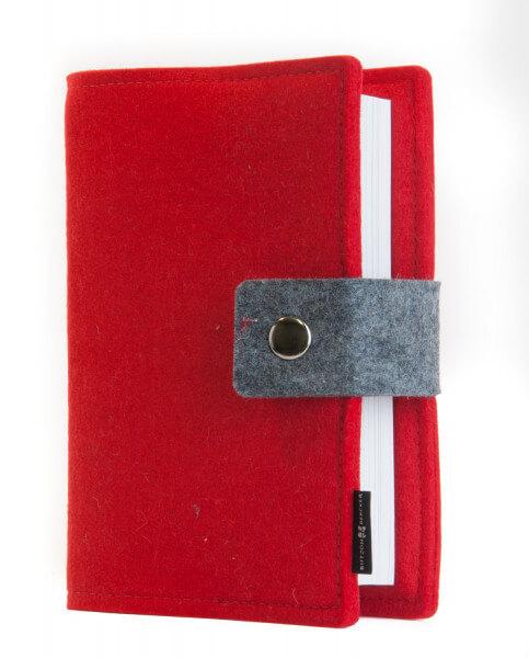 Gotteslob-Buchhülle - Wollfilz und Rot