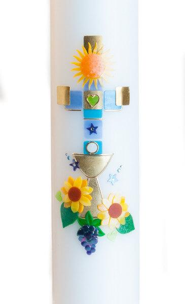 Tischkerze zur Kommunion - Sonne, Farbiges Kreuz und Goldener Kelch