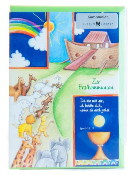 Karte zur Erstkommunion - Ich bin mit dir & Arche
