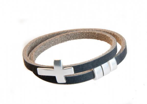 Armband - Kreuz und Lederband