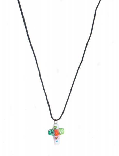 Halskette zur Kommunion -Taukreuz und Muranoglas