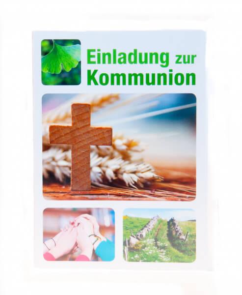 Kommunionkarte - 5er Set Einladungskarten und Holzkreuz