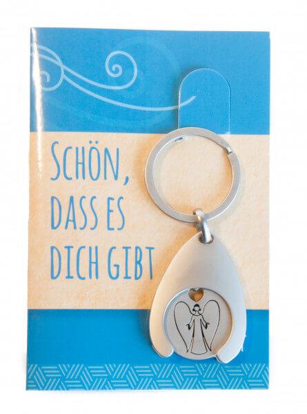 Schlüsselanhänger - Schön, dass es dich gibt und Schutzengel-Einkaufschip