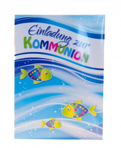 Kommunionkarte - 5er Set Einladungskarten und bunte Fische