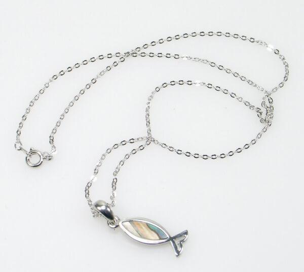 Halskette - Perlmutt-Fisch