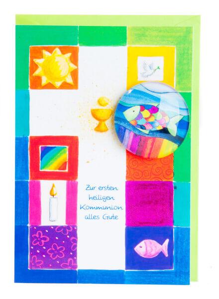 Karte zur Kommunion - Alles Gute und Fisch-Magnet