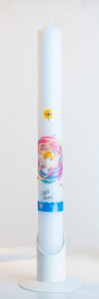 Taufkerze - Weiße Taube und roséfarbenes Firmament