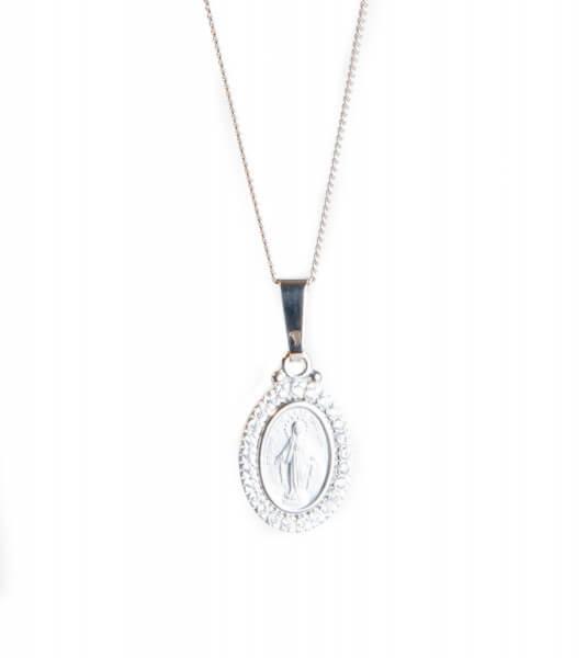 Silberkette - Wundertätige Medaille mit Swarovski Elementen
