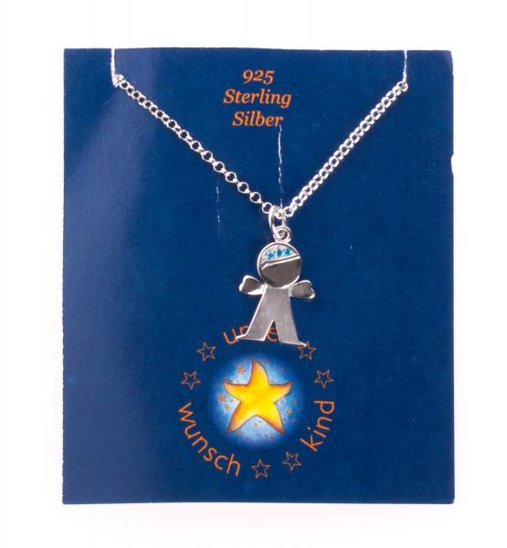Silberkette - Junge & & Blaue Zirkonia Steine