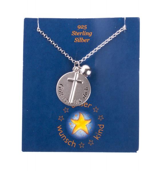 Silberkette - Kreuz & Gott schütze dich