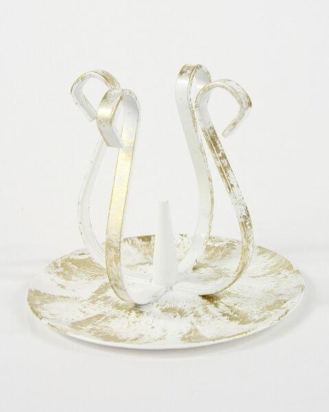 Kerzenständer - weiß-golden