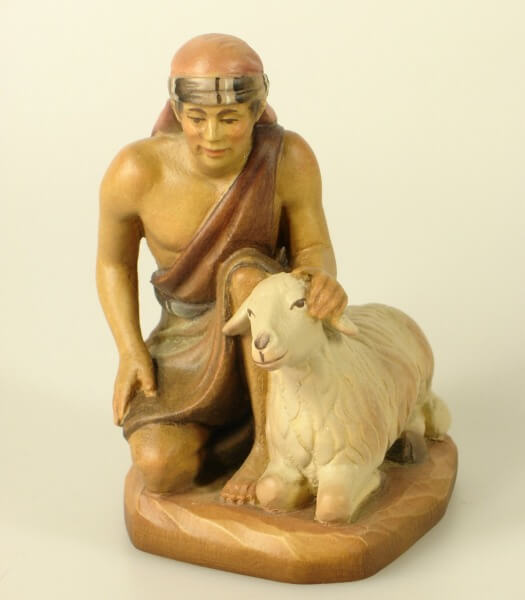 Heilig-Land Krippe - Kniender Hirte mit Schaf