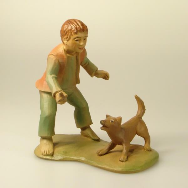 Tiroler-Krippe - Junge mit Hund