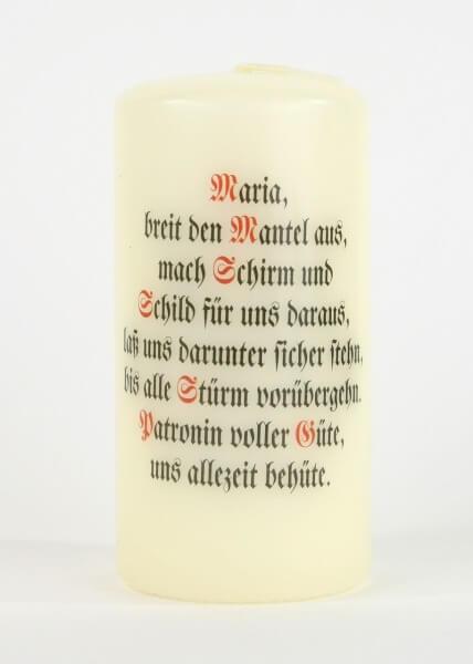 Spruchkerze - Maria, breit den Mantel aus