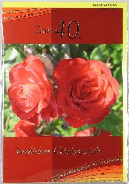 Geburtstagskarte - Mit Zahl & Rosen