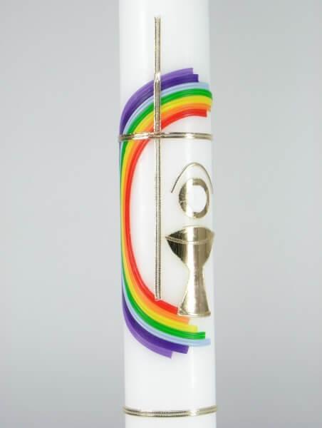 Kommunionkerze - Regenbogen-Kreis