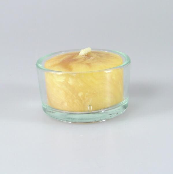 Bienenwachskerze - Teelicht Natur im Glas