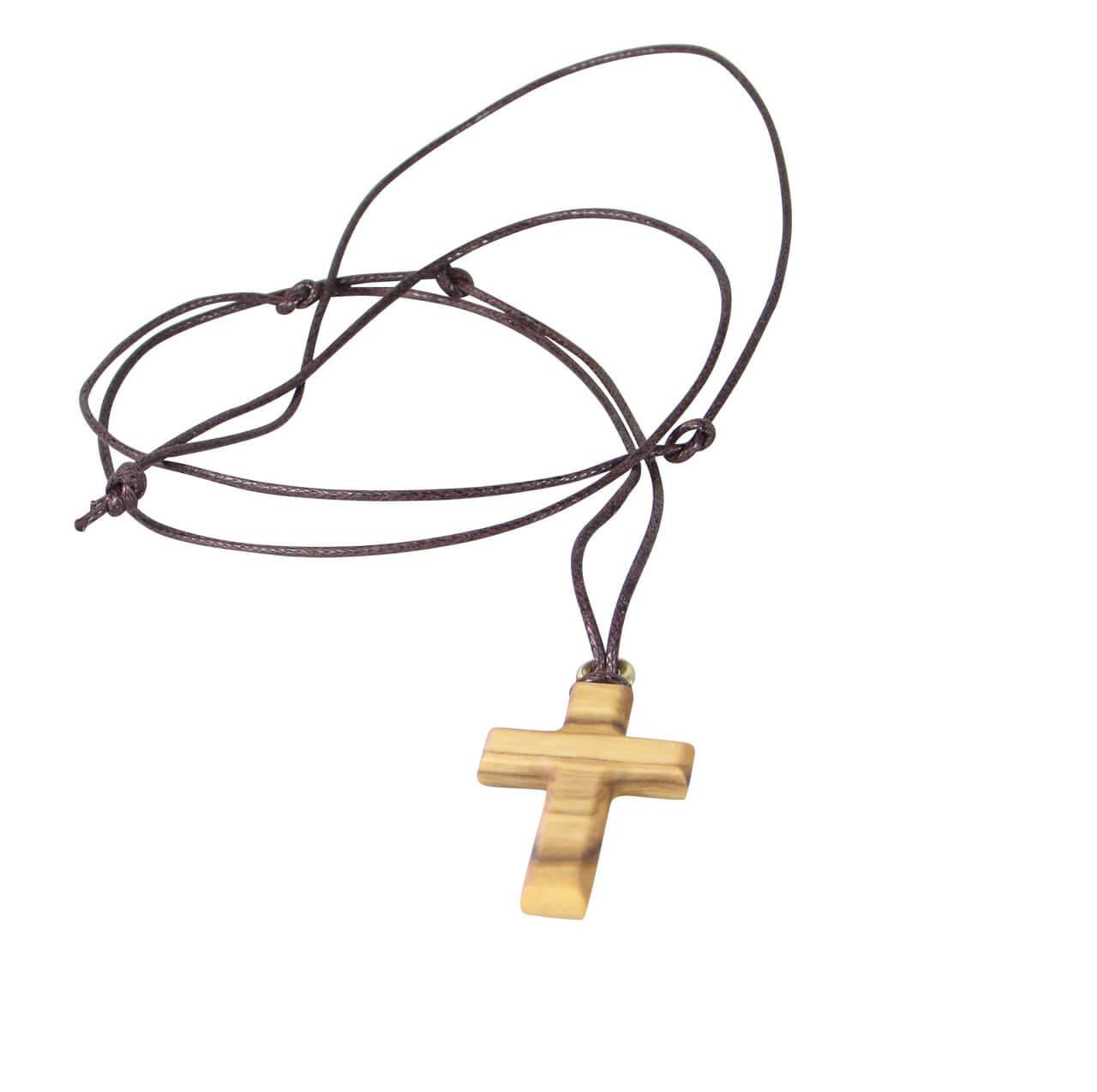 Halskette - Olivenholz & Kreuz länglich
