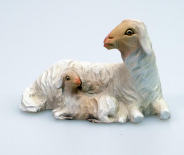 Bayrische Künstler-Krippe - Schaf liegend m. Lamm