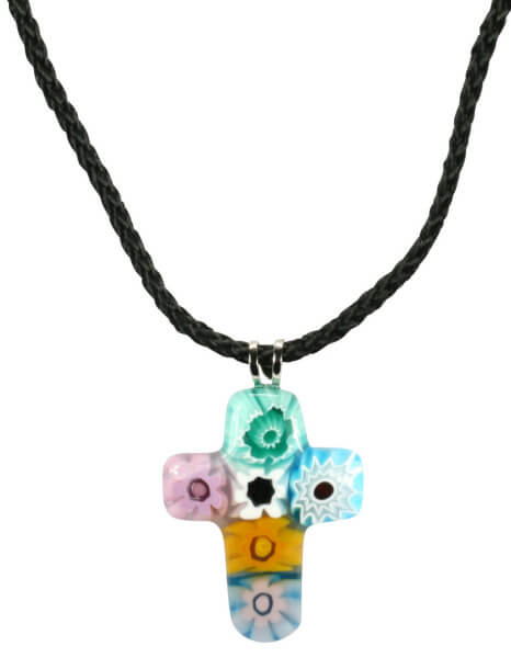 Halskette - Kreuz & Muranoglas
