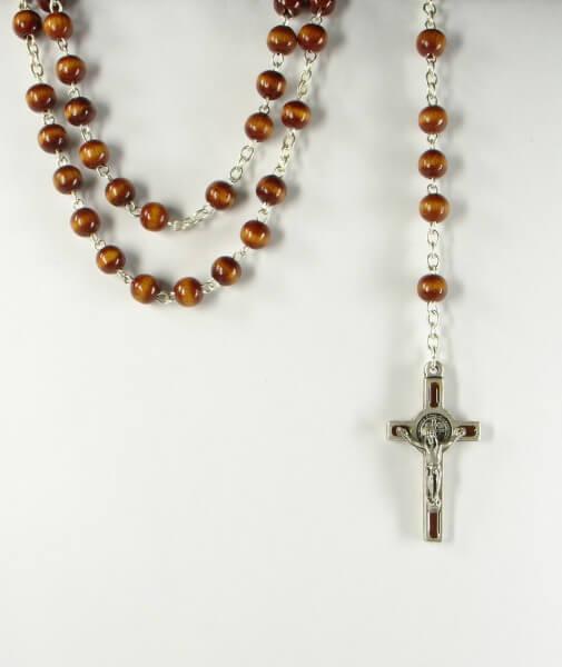Rosenkranz - Braune Perle & Benediktus-Kreuz