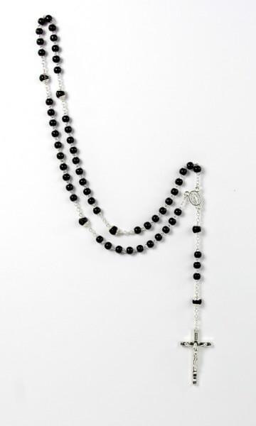 Rosenkranz - Schwarz verzierte Perle & Silberfarbenes Kreuz