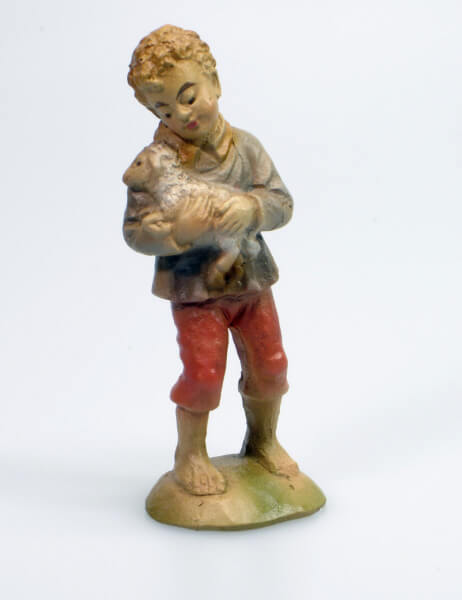 Künstler-Krippe - Bub steh. m. Schaf