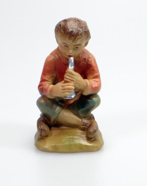 Künstler-Krippe - Flötenjunge sitzend