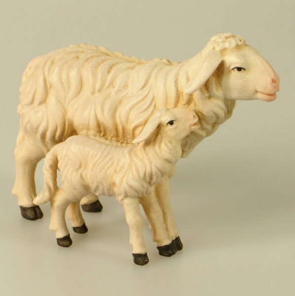 Kostner-Krippe - Schaf mit Lamm stehend
