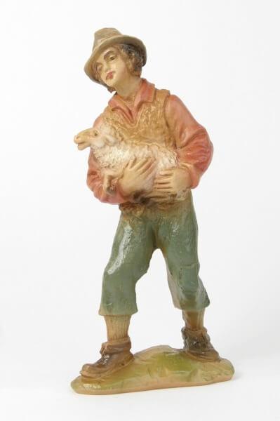Bayrische Künstler-Krippe - Hirt /Hut u. Schaf im Arm