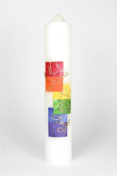 Tischkerze - Regenbogen & Symbole