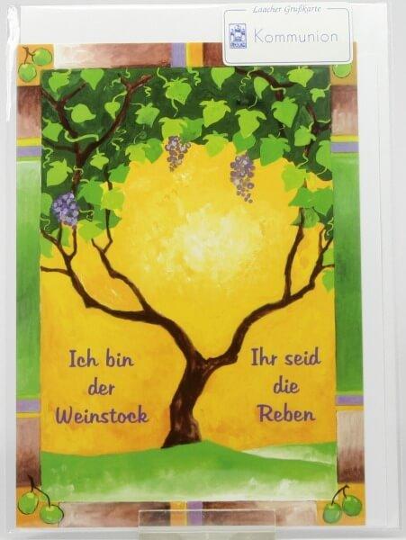 Kommunionkarte - Weinstock & Reben
