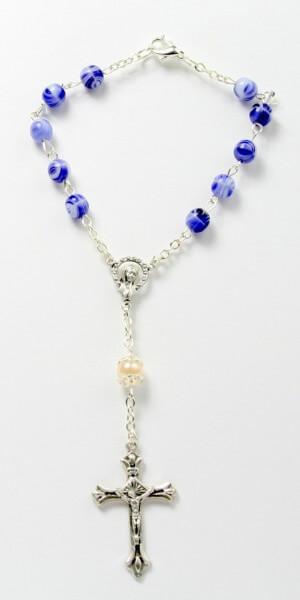 Fingerrosenkranz - Blau-Weiße Perle