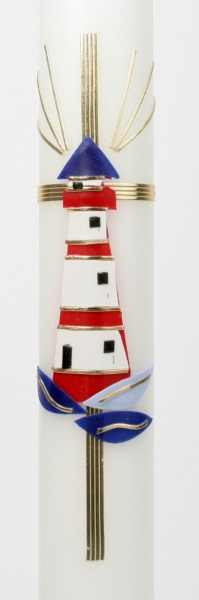 Kommunionkerze - Leuchtturm & Kreuz