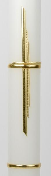 Taufkerze - Schlichtes Kreuz & Gold
