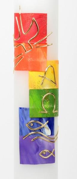 Taufkerze - Symbole & Regenbogen-Farben