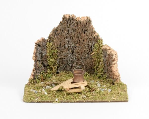 Krippenzubehör - Feuerstelle mit Korkwand & Eimer