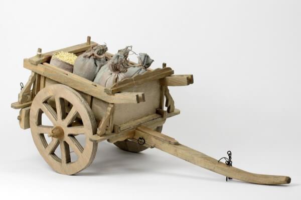 Krippen-Zubehör - Wagen mit Säcken