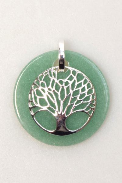 Anhänger - Lebensbaum auf Jade Platte