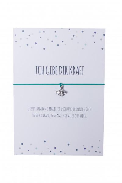 Armband Ginkoblatt - Ich gebe dir Kraft & türkis