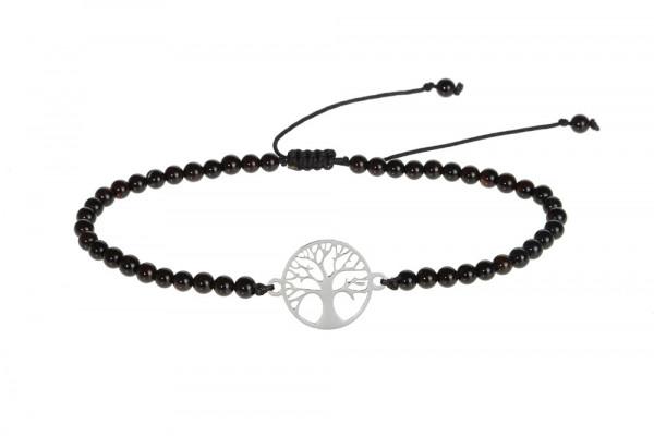 Armband - schwarzer Achat & Lebensbaum